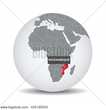 World Globe Map With The Identication Of Mozambique. Map Of Mozambique. Mozambique On Grey Political