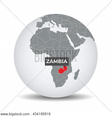 World Globe Map With The Identication Of Zambia. Map Of Zambia. Zambia On Grey Political 3d Globe. A