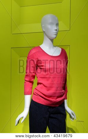 Fashion Dummy With Red Sweater And Black Pants