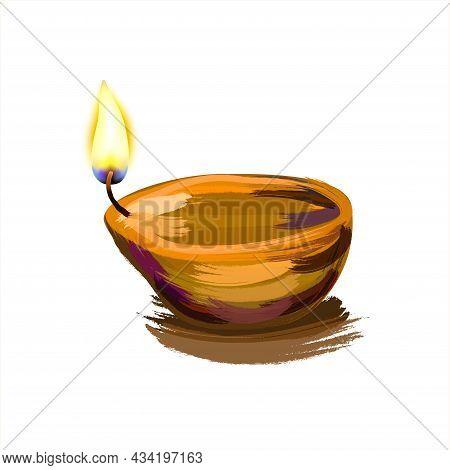 Indian Celebration Diwali. Watercolor Golden Lamp And Burning Fire. Hindu Festival Of Lights Celebra