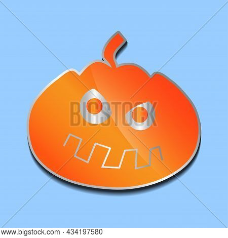 Brooding Orange Pumpkin Sticker On A Colored Background.
