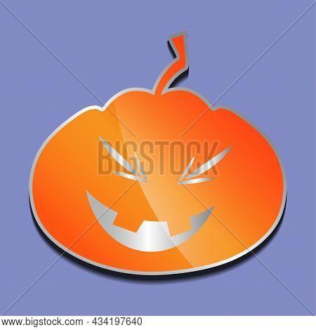 Cute Laughing Orange Pumpkin Sticker On A Colored Background.