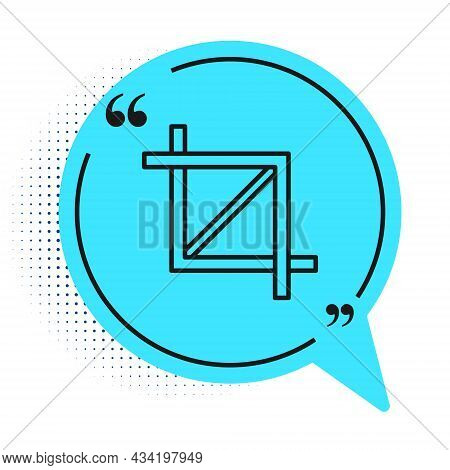 Black Line Picture Crop Photo Icon Isolated On White Background. Blue Speech Bubble Symbol. Vector