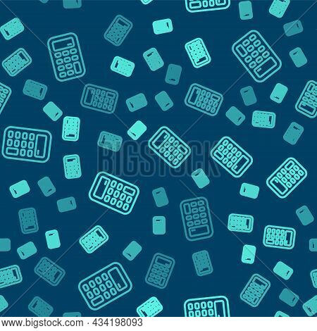 Green Line Calculator Icon Isolated Seamless Pattern On Blue Background. Accounting Symbol. Business