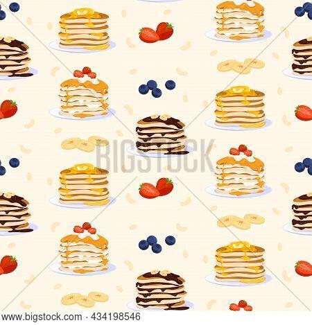 Sweet Pancakes Seamless Pattern Vector Flat Illustration. Treat Baking Homemade Appetizing Dessert