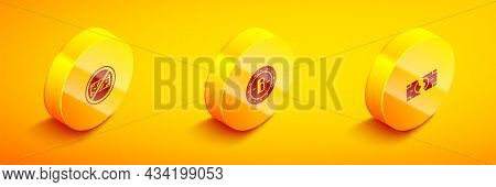 Set Isometric No Money, Bitcoin And Tearing Banknote Icon. Vector