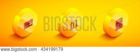 Set Isometric Identification Badge, Courthouse Building And Evidence Bag And Bullet Icon. Vector