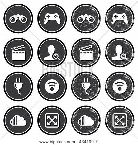Web navigation icons on retro labels set