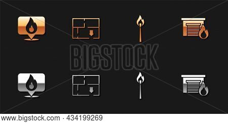 Set Location With Fire Flame, Evacuation Plan, Burning Match And Fire Burning Garage Icon. Vector