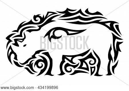 Beautiful Moochrome Vector Illustration With Black Tribal Tattoo Pattern Around White Rhino Silhouet