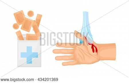 Skin Burn Injury Treatment. First Aid For Thermal Wound. Hand Under Cool Water Vector Illustration