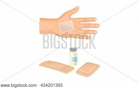 First Aid For Wound. Medical Patch Plastered On Palm Vector Illustration