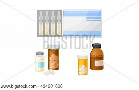 Set Of Different Medical Tools. Medicines And Pharmaceutical Products, Bottles, Tablets, Capsules, A