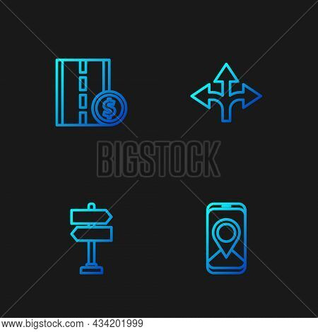 Set Line City Map Navigation, Road Traffic Sign, Toll Road And . Gradient Color Icons. Vector