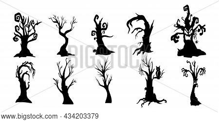 Collection Of 10 Gloomy Halloween Trees On White Background - Vector Illustration