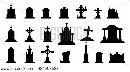 Selection Of Gravestones From The Halloween Cemetery On A White Background - Vector Illustration