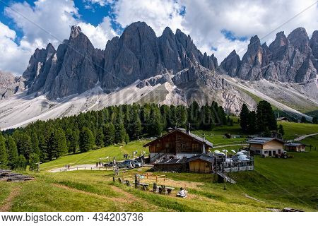 Geisler Alm, Dolomites Italy, Hiking In The Mountains Of Val Di Funes In Italian Dolomites, Nature P