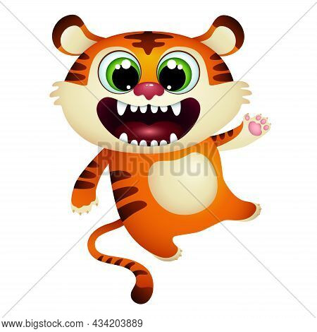 Funny Cartoon Tiger Cub Open Mouth.  Happy Wild Jungle Animal On White Background. Greeting Card. Ve