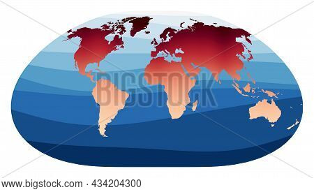 World Map Vector. Loximuthal Projection. World In Red Orange Gradient On Deep Blue Ocean Waves. Styl
