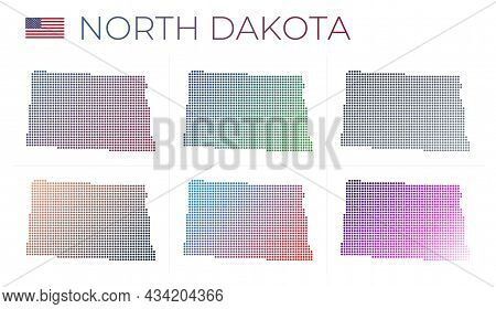 North Dakota Dotted Map Set. Map Of North Dakota In Dotted Style. Borders Of The Us State Filled Wit