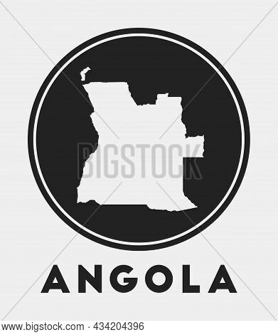 Angola Icon. Round Logo With Country Map And Title. Stylish Angola Badge With Map. Vector Illustrati