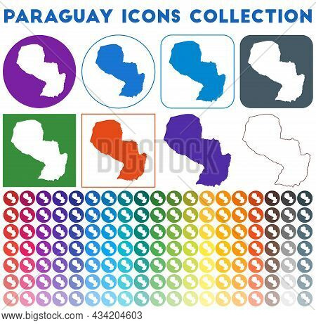 Paraguay Icons Collection. Bright Colourful Trendy Map Icons. Modern Paraguay Badge With Country Map