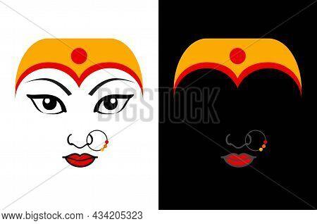 Maa Durga Face Expression - Mythological Hindu Goddess With Black And White Background