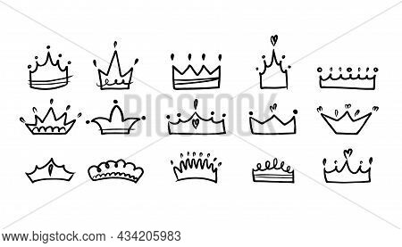 Crown Set. Hand Drawn King And Queen, Prince And Princess Head Accessory, Ink Drawing Logo, Emblem O