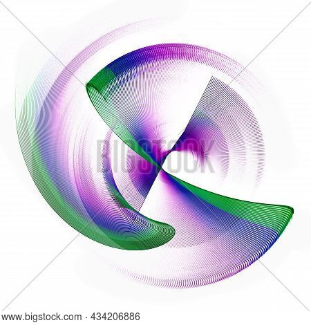 Purple With Green Stripes Abstract Fan Blades Rotate On A White Background. Graphic Design Element.