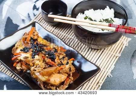 "homemade oyakudon ""parent and child"" donburi or rice meal poster"