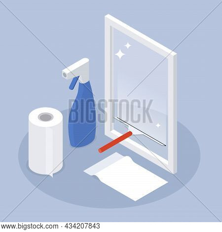 Window Cleaning Service Isometric Vector Illustration. Washing Hygienic Cleanliness Of Glass. Househ