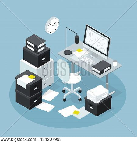 Isometric Modern Office Workplace With Papers Storage Vector Illustration. Analyzing, Accounting, Br