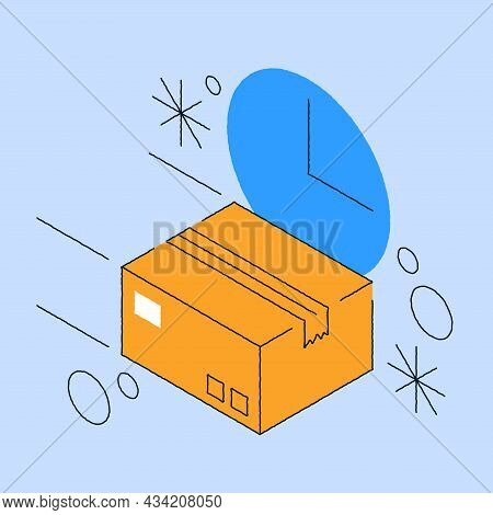 Fast Delivery Order Parcel Service Vector Isometric Illustration. Purchase Shipping Delivering, Onli
