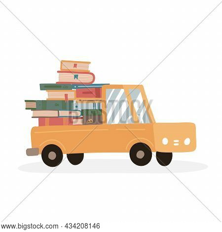 Stack Of Books In A Cute Truck. Delivery Concept For Online Bookstore. Book Pile From An Online Stor