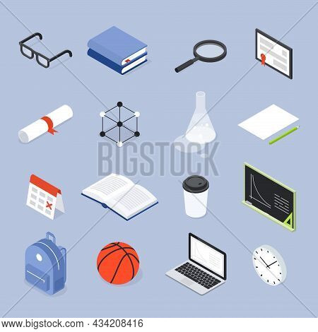 School College Objects Set Isometric Vector Illustration. Educational University Items Collection Fo