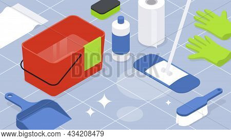 Isometric Home Cleaning Housework Vector Illustration. Tile Floor Cleanliness Equipment Detergents F