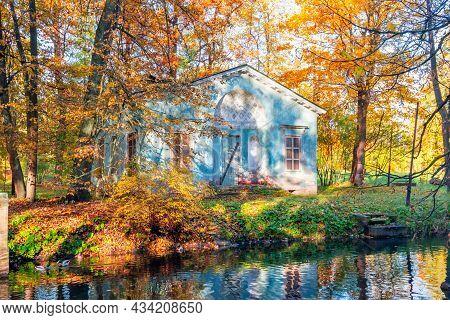 Children's House In Autumn Foliage In Alexander Park, Tsarskoe Selo (pushkin), St. Petersburg, Russi