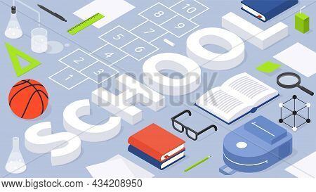 Back To School Abstract Isometric Vector Illustration With Place For Text. Creative Educational Tool