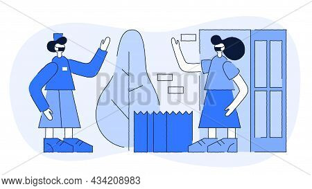 Contactless Courier Delivery Vector Flat Illustration. Safe Shipment Near Door To Home Grocery Produ