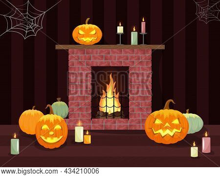 Halloween Interior Decoration. Fireplace With Flame And Glowing Pumpkin Carved Lamps. Vector Illustr