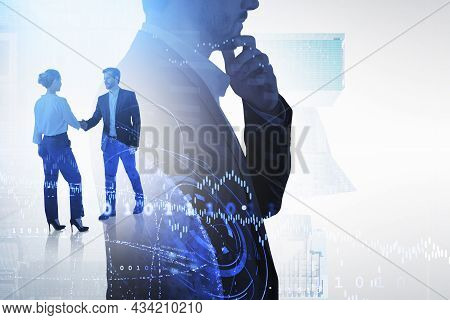 Businessman Wearing Formal Suit Is Shaking Hands With Businesswoman. Singapore City Skyscraper In Th