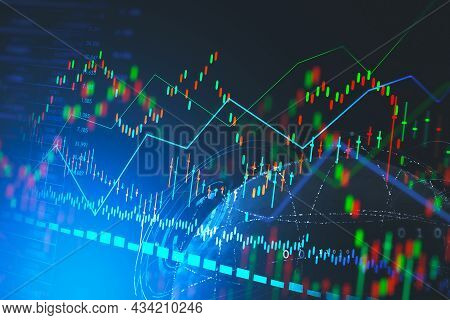 Forex Candlestick And Financial Chart And Rising Graph With Lines And Numbers That Illustrate Stock