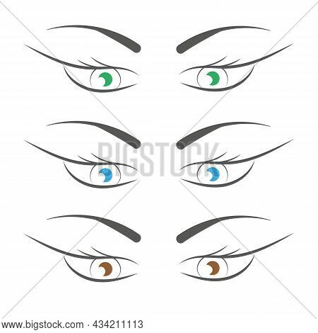Set Of Womens Green, Blue, Brown Eyes With Eyebrows, Eyelashes, Isolated On White Background. Beauty