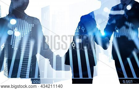 Businessman Wearing Formal Suit Is Shaking Hands With Businesswoman After Making Profitable Agreemen