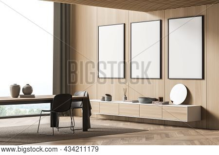 Corner Of The Panoramic Living Room With Three Empty Canvases On The Wood Wall, A Dining Table And A