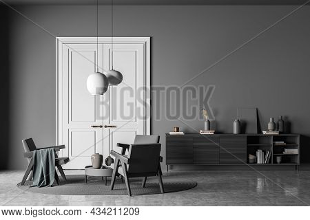 Dark Living Room Interior With Empty Wall, Three Armchairs, Carpet, Doors, Coffee Table, Sideboard A