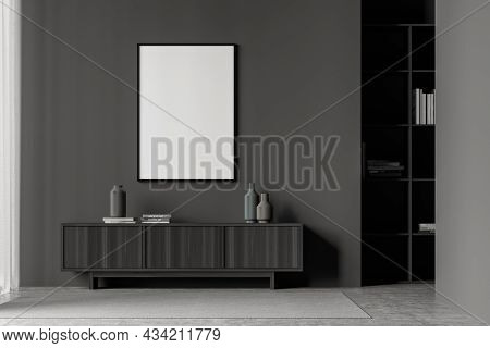Dark Living Room Interior With White Empty Poster, Sideboard, Carpet, Bookshelf And Concrete Floor.