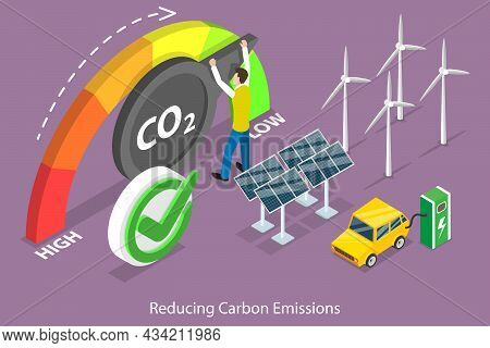 3d Isometric Flat Vector Conceptual Illustration Of Reducing Carbon Emissions, Sustainable Developme