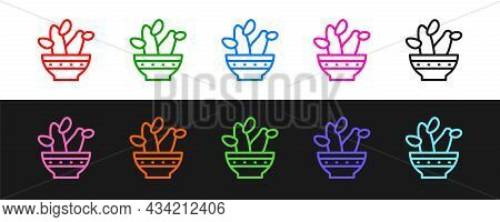 Set Line Cactus Peyote In Pot Icon Isolated On Black And White Background. Plant Growing In A Pot. P