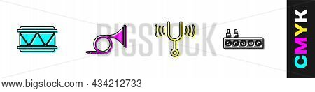 Set Drum, Trumpet, Musical Tuning Fork And Sound Mixer Controller Icon. Vector